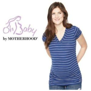 Oh Baby Motherhood Maternity Blue V neck Top Sz XL